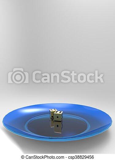 Golden dice on plate 3d illustration - csp38829456