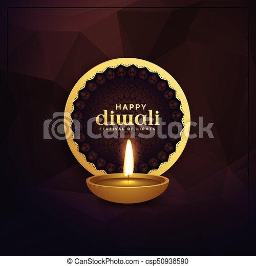 Golden diwali greeting card design with diya lamp golden diwali greeting card design with diya lamp csp50938590 m4hsunfo