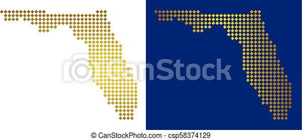 Golden Dotted Florida Map - csp58374129