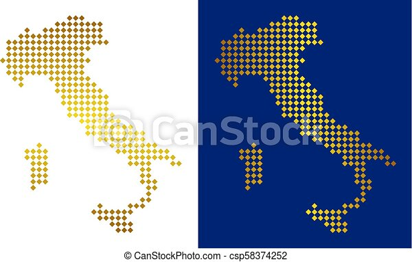 Golden Dotted Italy Map