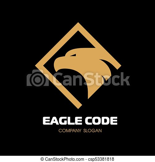 Golden eagle Logo. Bird, phoenix. The head in profile. Vector Logo Template. - csp53381818