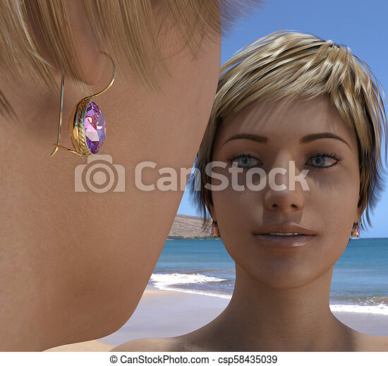 Golden earrings with a stone - csp58435039