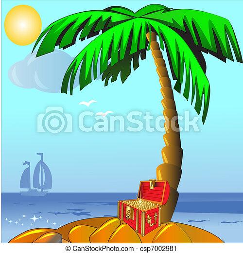 gold(en), eiland, palm, koffer - csp7002981