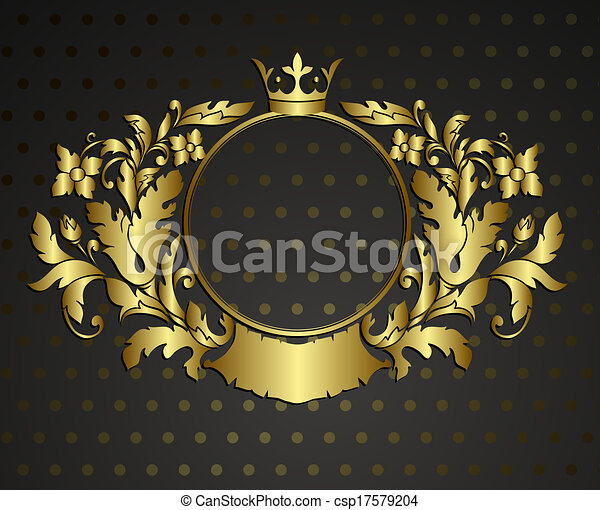 Golden emblem cartouche. Vector vintage border frame engraving with retro ornament pattern in antique rococo style decorative design  - csp17579204