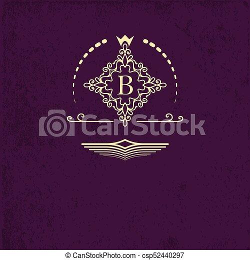 golden emblem ornamental frame around the letter b monogram design