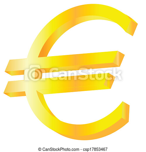 Golden Euro Sign Vector Illustration