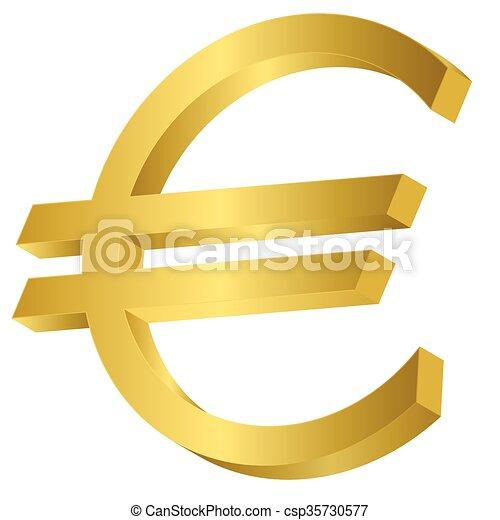 Golden Euro Sign Golden Metal Euro Sign Money Symbol Vectors