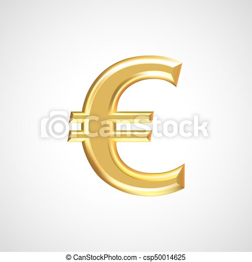 Golden Euro Sign Symbol Isolated On White Background Vector