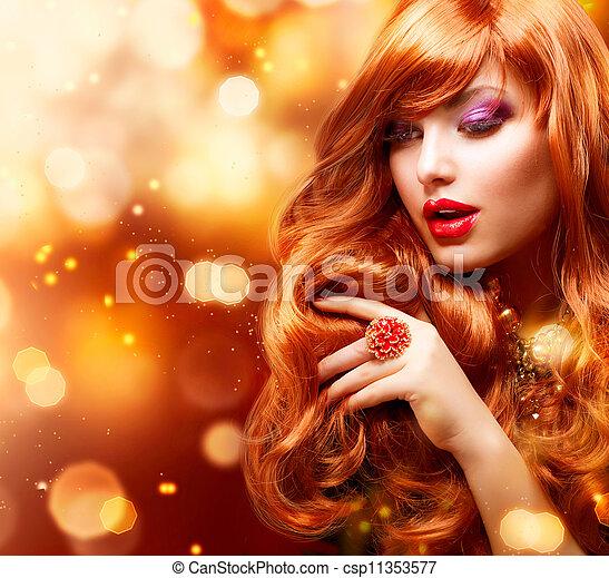 Golden Fashion Girl Portrait. Wavy Red Hair  - csp11353577