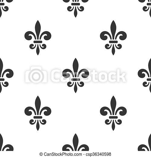 Golden Fleur De Lis Seamless Pattern White 5
