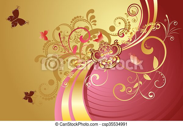 Golden Floral Background Fashion Background With Decorative Golden