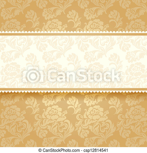 Golden flower on background. Square - csp12814541