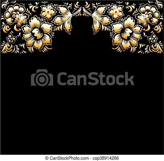 Golden flowers on a black backgroun