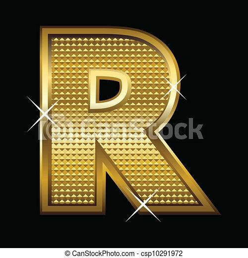 Golden font type letter R  - csp10291972