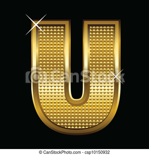Golden font type letter U  - csp10150932