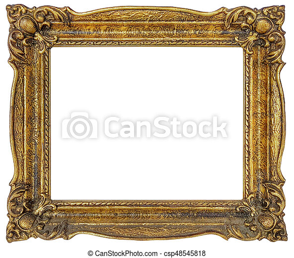 Golden frame cutout. Old empty golden frame isolated.