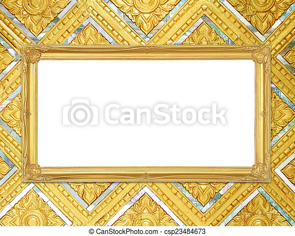 Blank golden frame on thai style buddha wall background.