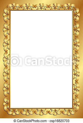 Golden Frame With Transparent Space Insert Vector Clipart