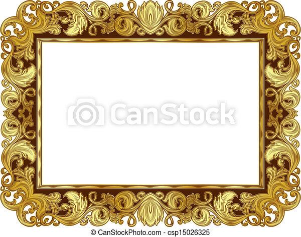 Golden frame1. Gold ornate frame in the renaissance style, in isolation.