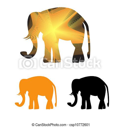 Golden framed elephant in light rays. Set og goldgolden framed ...