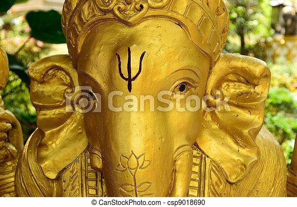 Golden Ganesh Statue - csp9018690