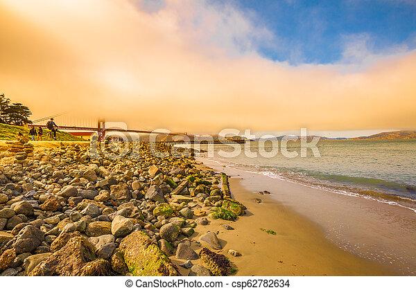 Golden Gate at sunset - csp62782634