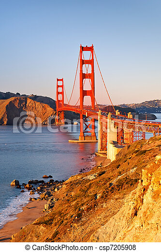 Golden Gate Bridge at sunset - csp7205908