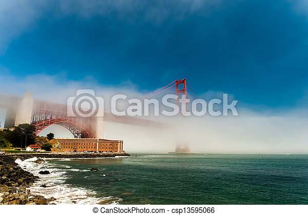 Golden Gate Bridge in the fog. - csp13595066