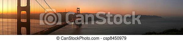 Golden Gate Dawn Panorama - csp8450979