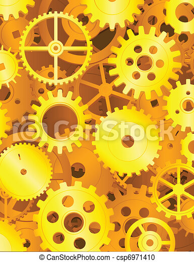 Golden gear background - csp6971410