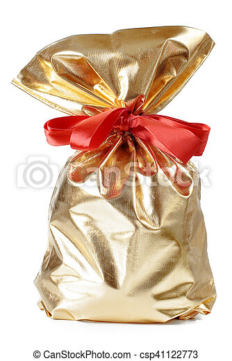 golden gift bag with a red bow - csp41122773