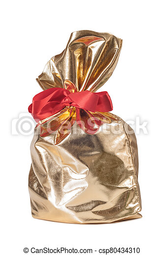 Golden gift bag with a red bow - csp80434310