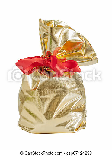 Golden gift bag with a red bow - csp67124233