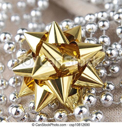 golden gift bow - csp10812690