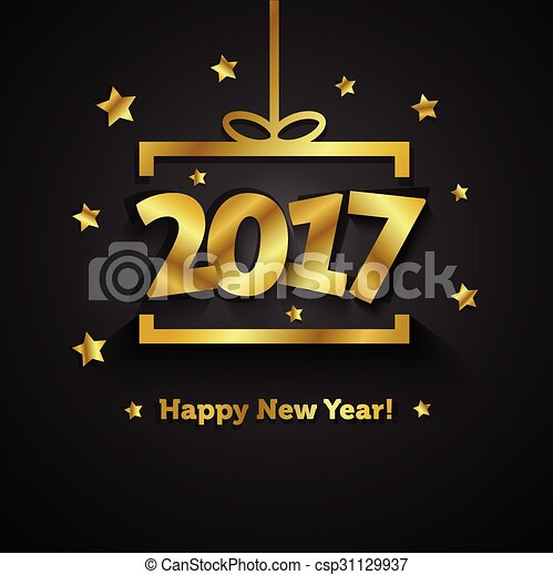 Golden gift box with 2017 happy new year greeting card vectors golden gift box with 2017 happy new year greeting card m4hsunfo