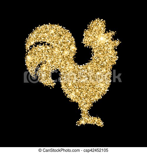 Golden Glitter Crowing Rooster With Sparkles Isolated On Black