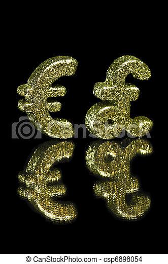 Golden Glitter Euro And British Pound Symbol Over Black