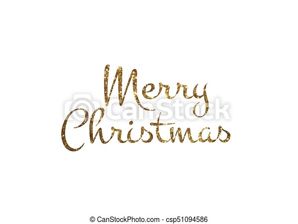 Merry Christmas Writing Clipart.Golden Glitter Isolated Hand Writing Word Merry Christmas