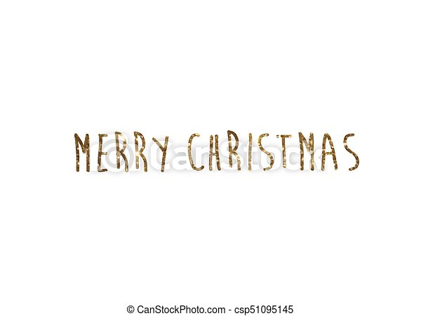 Merry Christmas Writing.Golden Glitter Isolated Hand Writing Word Merry Christmas