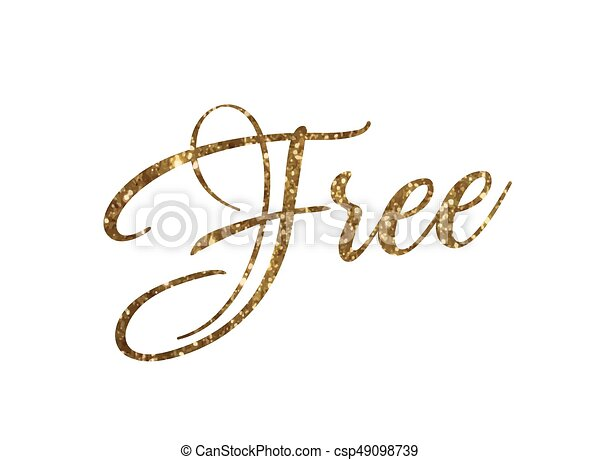 Golden glitter of isolated hand writing word FREE