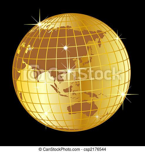 golden globe asia and australia on black background - csp2176544