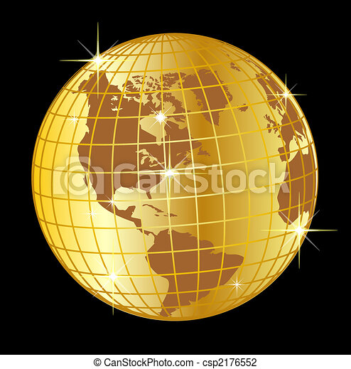 golden globe north and south america on black background - csp2176552