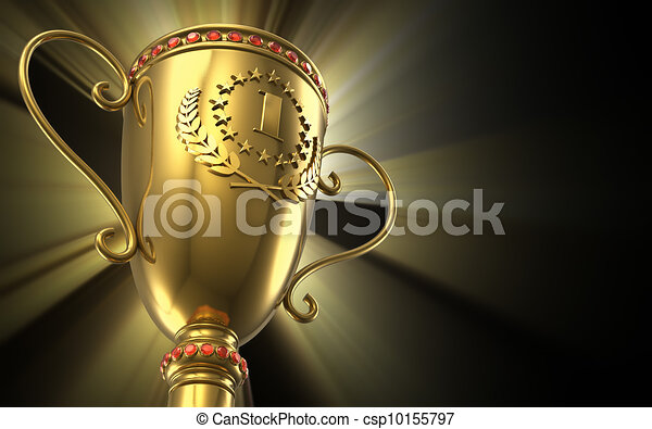 Golden glowing trophy cup on black background - csp10155797