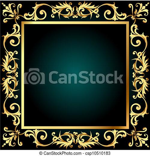 gold(en), groente, frame, ornament, achtergrond - csp10510183