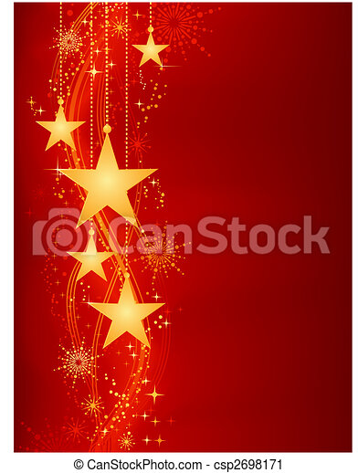 Golden hanging stars on red background with grunge elements - csp2698171