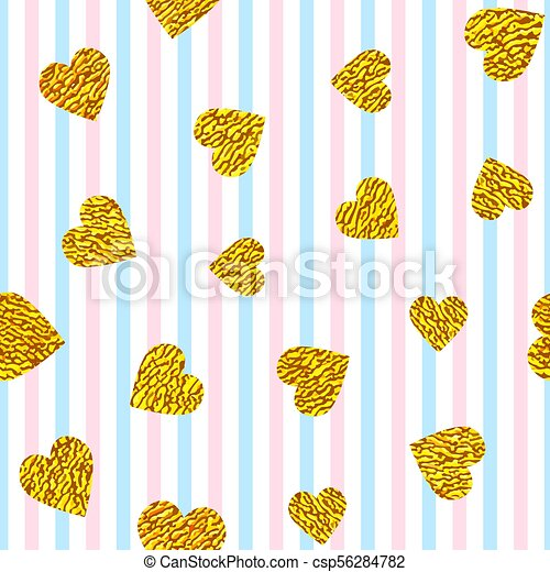 golden hearts on striped background - csp56284782