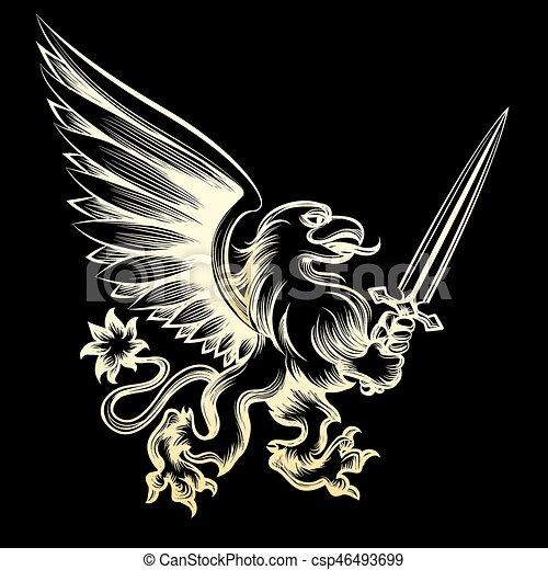 Golden heraldy gryphon with sword - csp46493699