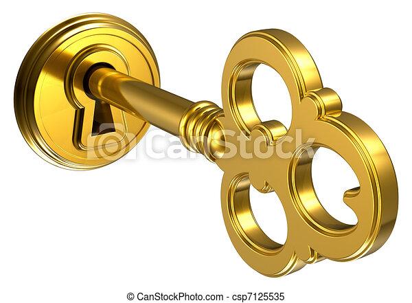 Golden key in keyhole - csp7125535