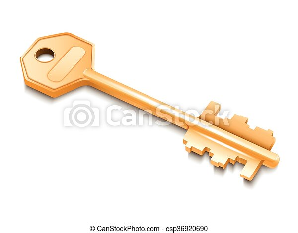 Golden key isolated on white background. - csp36920690