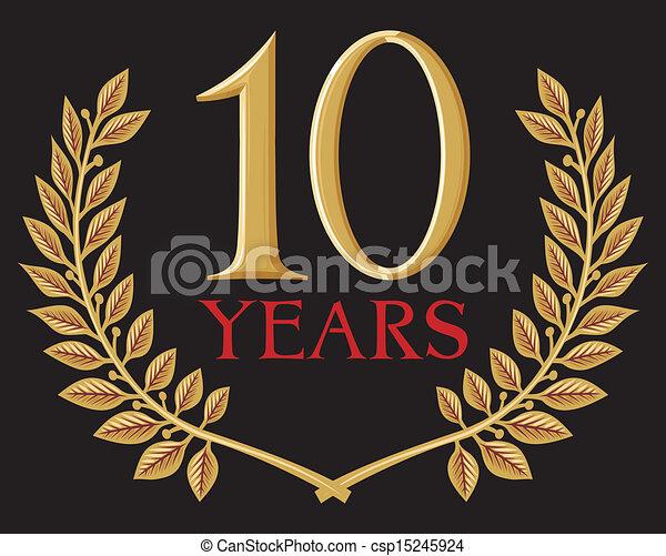 golden laurel wreath 10 years  - csp15245924